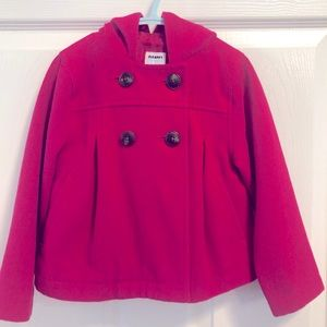 Old Navy pink pea coat with hood 4T
